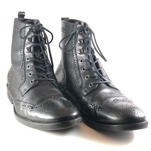 a. Testoni Basic Black Wingtip Brogue Boot M 11